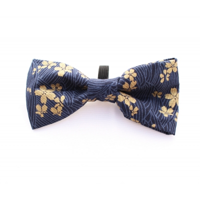 Golden Navy Mini Flower Bow Tie title=