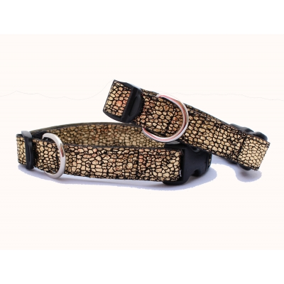 Crackled Gold Slim Fit Collar - 15mm wide