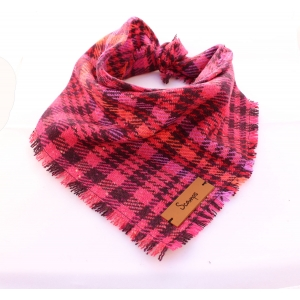 Frayed Pink Mulled Wine Tweed Bandana - Scamps