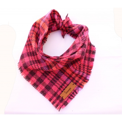 Frayed Pink Mulled Wine Tweed Bandana - Scamps title=