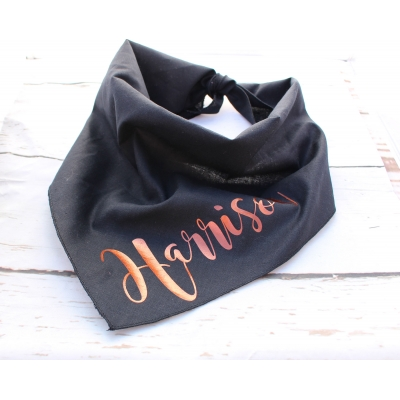 Personalised Copper Gold Black Bandana title=