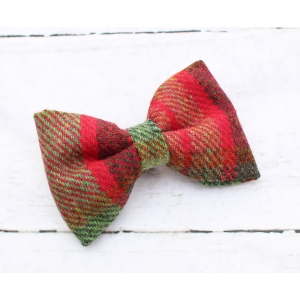 Moss Green & Red Tweed Bow Tie - Deluxe