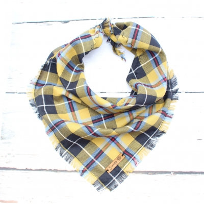 Frayed Mustard Plaid Bandana - Scamps
