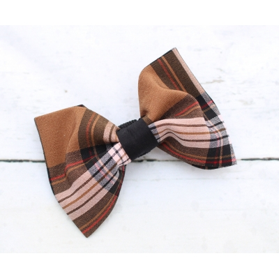 Tan & Black Plaid Bow Tie - Deluxe title=