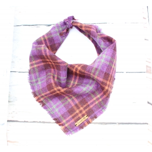 Frayed Purple & Orange Plaid Tweed Ban..