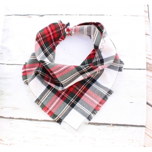 Frayed Alfies Red & White Plaid Bandan..