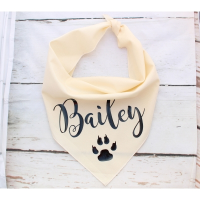 Personalised Cream & Black Gold Bandana