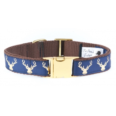 Country Stag Navy Blue Collar On Gold