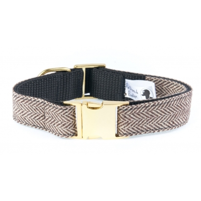 Brown Herringbone Tweed Collar On Gold