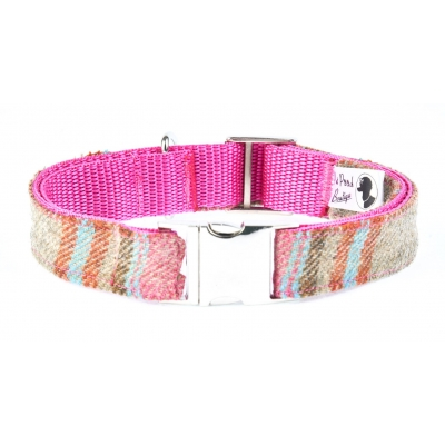 Foxy In Pink Tweed Collar - Silver Buckle