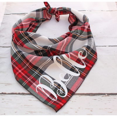 Personalised Alfies Plaid Tartan Bandana title=