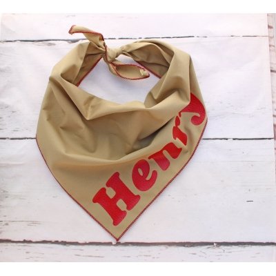 Personalised Khaki & Red Leather Bandana