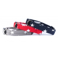 Navy Blue Star Deluxe Dog Collar LARGE