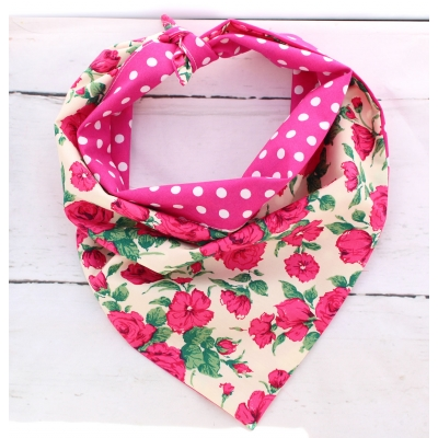 Polka Dot Roses Double Sided Bandana