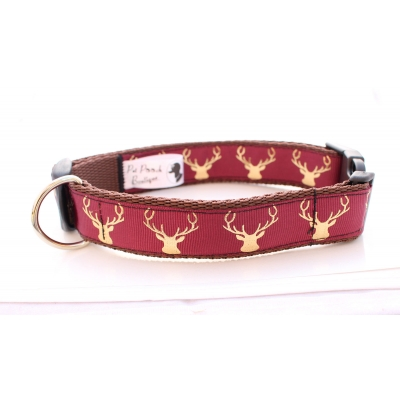 Country Stag On Maroon Collar