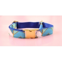 Blue Copper Chevron On Gold Collar