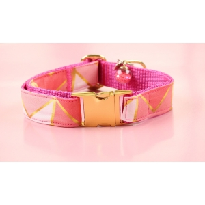 Pink Mint On Gold Collar