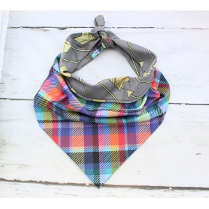 Rainbow Tartan Double Sided Bandana