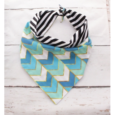Blue Copper Chevron Double Sided Bandana