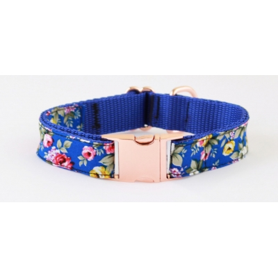 Royal Blue Peony On Rose Gold Collar