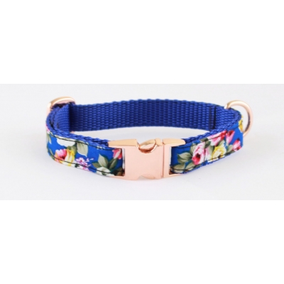 Royal Blue Peony On Rose Gold Slim Fit Collar - 15mm wide