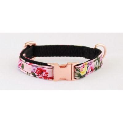 Rose Pink Peony On Rose Gold Slim Fit Collar - 15mm wide