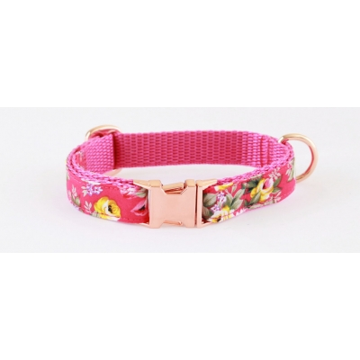 Fushia Pink Peony On Rose Gold Slim Fit Collar - 15mm wide