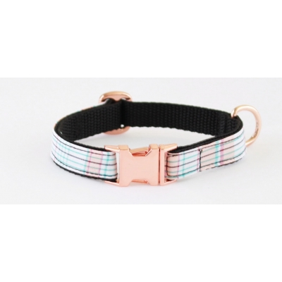 Gentlemans Check On Rose Gold Slim Fit Collar - 15mm wide