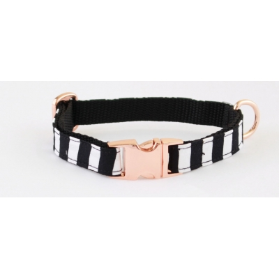 Black Crow On Rose Gold Slim Fit Collar - 15mm wide