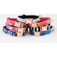 Peppercorn Orchid On Rose Gold Slim Fit Collar - 15mm wide