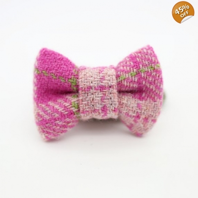 Golden Fushia Harris Tweed Bow Tie