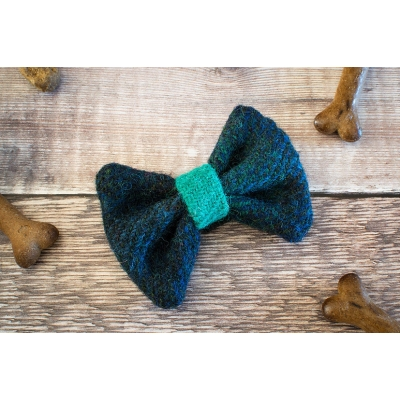 Navy and Mint Harris Tweed Bow Tie