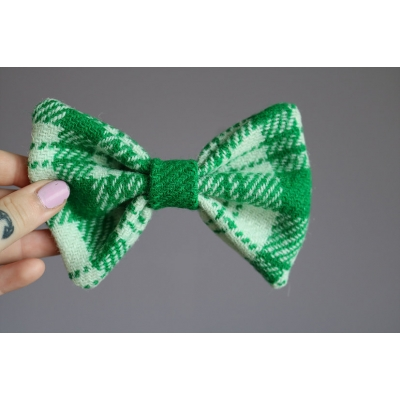 Green and White Harris Tweed Bow Tie