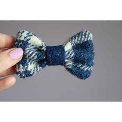 Blue and White Harris Tweed Bow Tie