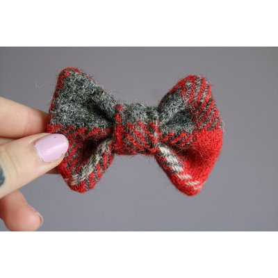 Red and Grey Harris Tweed Bow Tie