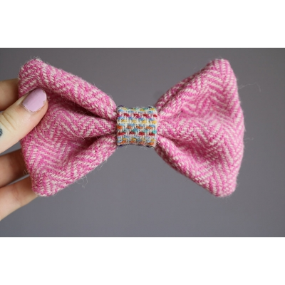 Baby Pink Herringbone Harris Tweed Bow Tie