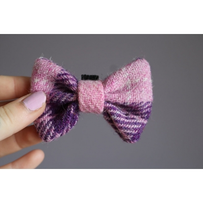 Baby Pink and Purple Harris Tweed Bow Tie