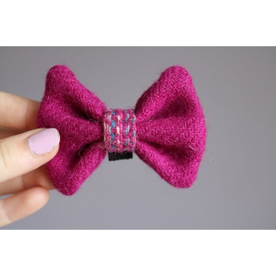 Pink and Pink Confetti Middle Harris Tweed Bow Tie