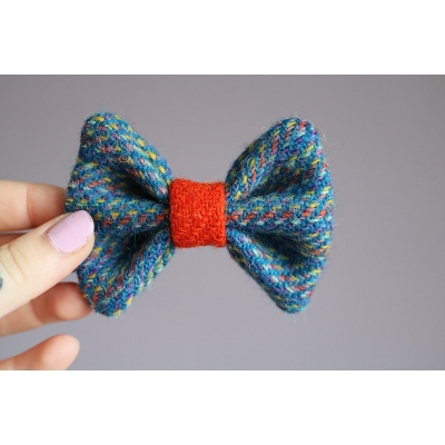 Blue and Orange Confetti Harris Tweed Bow Tie