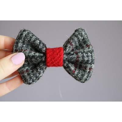 Black and Red Harris Tweed Bow Tie
