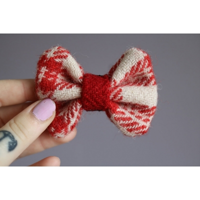 Red and White Harris Tweed Bow Tie