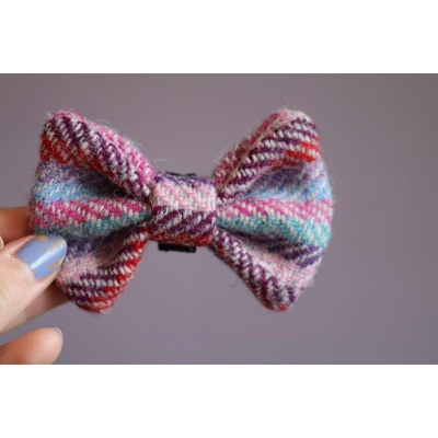 Pink, Purple and Blue Stripe Harris Tweed Bow Tie