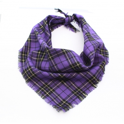 Frayed Purple & Gold Plaid Bandana - Scamps