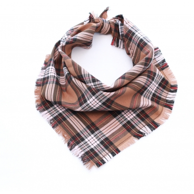 Frayed Coffee Bean Plaid Bandana - Scamps