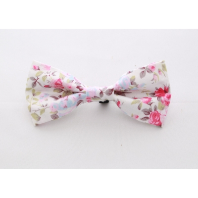 English White Rose Bow Tie