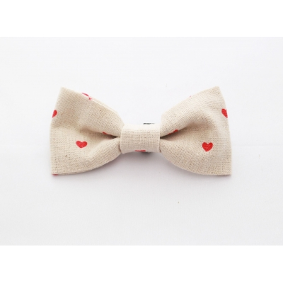 Hessian Red Hearts Bow Tie