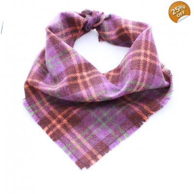 Frayed Purple & Orange Plaid Tweed Bandana - Scamps