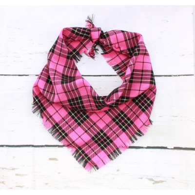 Frayed Candy Floss Plaid Bandana - Scamps