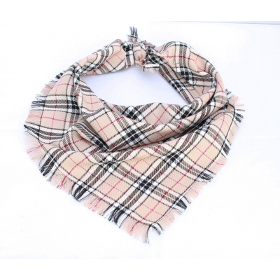 Frayed Barkberry Tan & White Plaid Bandana - Scamps