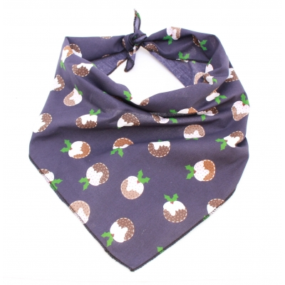 Navy Christmas Pudding Bandana